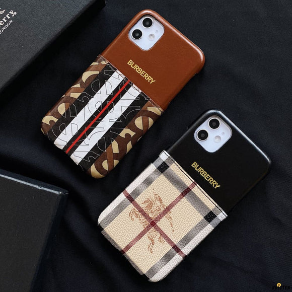 Burberry Style Luxury Leather Cardholder Wallet Protective Designer Iphone Case for Se 11 Pro - iPhone