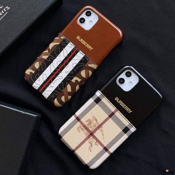 Burberry Style Luxury Leather Cardholder Wallet Protective Designer Iphone Case for 12 Pro Max Mini