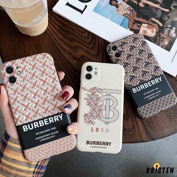 Burberry Style Luxury Silicone Shockproof Protective Designer Iphone Case for Se 11 Pro Max X - iPhone