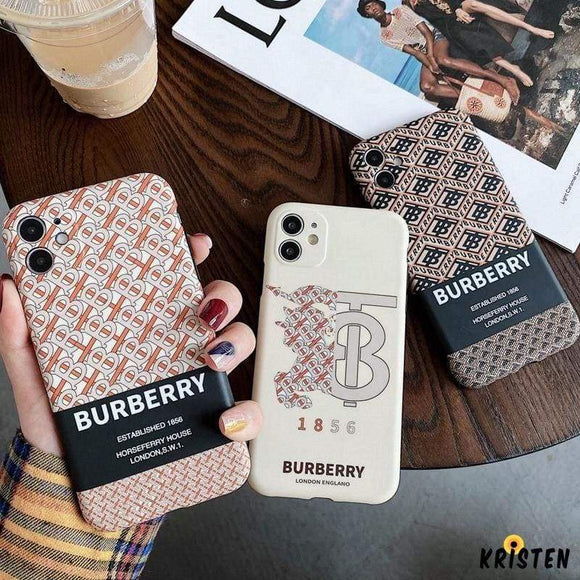 Burberry Style Luxury Silicone Shockproof Protective Designer Iphone Case for Iphone 12 Pro Max Mini