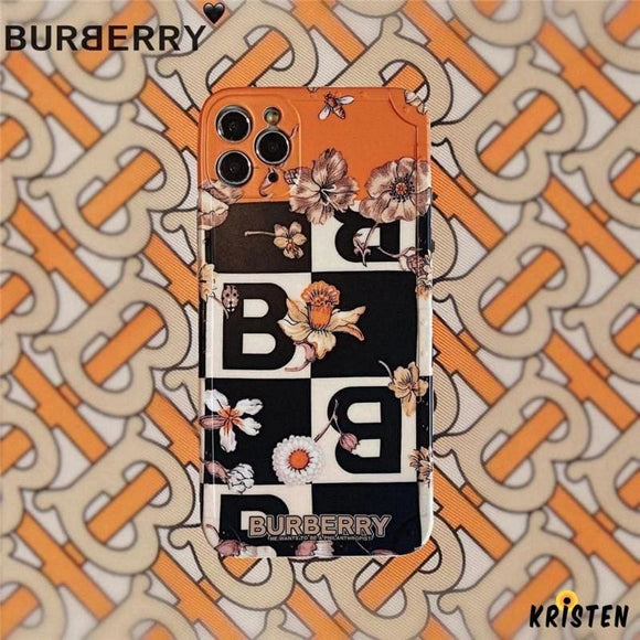 Burberry Style Soft Glue Protective Designer Iphone Case for 12 Pro Max Mini