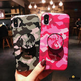 Camouflage Army Pink Matte Silicone Tpu Designer Iphone Case with Pop Socket for X Xs Max - iPhone