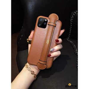 Celine Style Leather Hand Strap Protective Designer Iphone Case for Iphone 12 Pro Max Mini