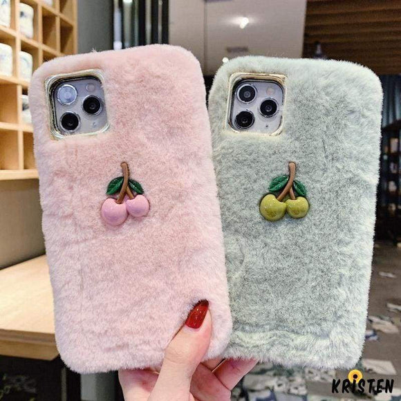 Cherry Furry Shockproof Protective Designer Iphone Case for Iphone 12 Pro Max Mini