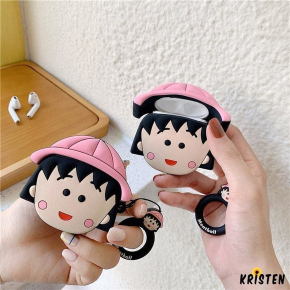 Chibi Maruko Chan Style Silicone Protective Shockproof Case for Apple Airpods 1 & 2 - AirPods