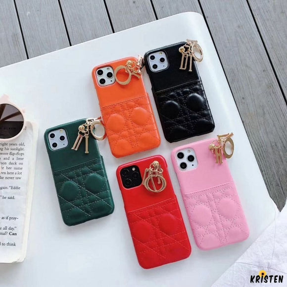 Christian Dior Style Leather Cardholder Wallet Keychain Shockproof Protective Designer Iphone Case - iPhone