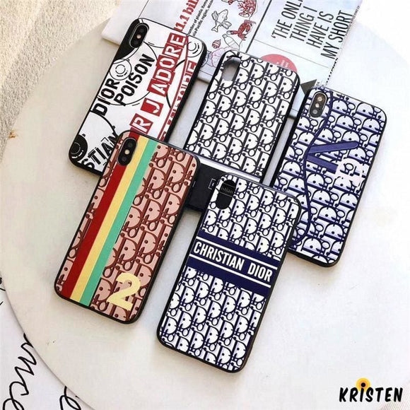 Christian Dior Style Stylish Fashion Runway Silicone Shockproof Protective Designer Iphone Case for - iPhone