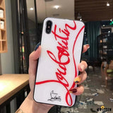 Christian Louboutin Style Tempered Glass Designer Iphone Case for Se 11 Pro Max X - iPhone