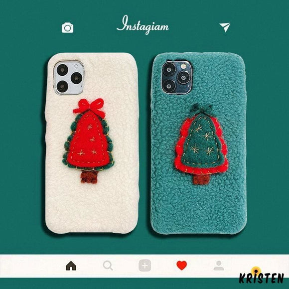 Christmas Tree Furry Shockproof Protective Designer Iphone Case for 11 Pro Max X Xs Xr 7 - iPhone
