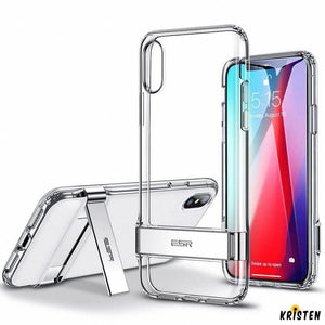 Crystal Clear Metal Kickstand Case Vertical and Horizontal Stand Soft Tpu Bumper Transparent - iPhone