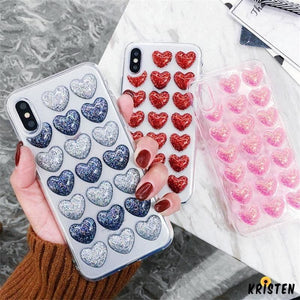Cute 3d Heart Glitter Shimmer Transparent Silicone Designer Iphone Case for Xs Max X - iPhone