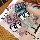 Cute Diamond Rhinestone Bling Ribbon Funny Big Eyes Transparent Clear Silicone Designer Iphone Case - iPhone