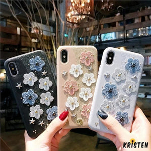 Cute Floral Glitter Leather Designer Iphone Case for Se 11 Pro Max X Xs Xr 7 8 plus - iPhone