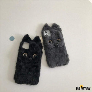 Cute Furry Teddy Dog Shockproof Protective Designer Iphone Case for 12 Pro Max Mini