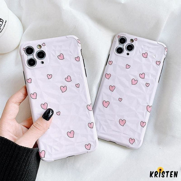 Cute Heart Silicone Shockproof Protective Designer Iphone Case for 11 Pro Max X Xs Xr 7 8 - iPhone