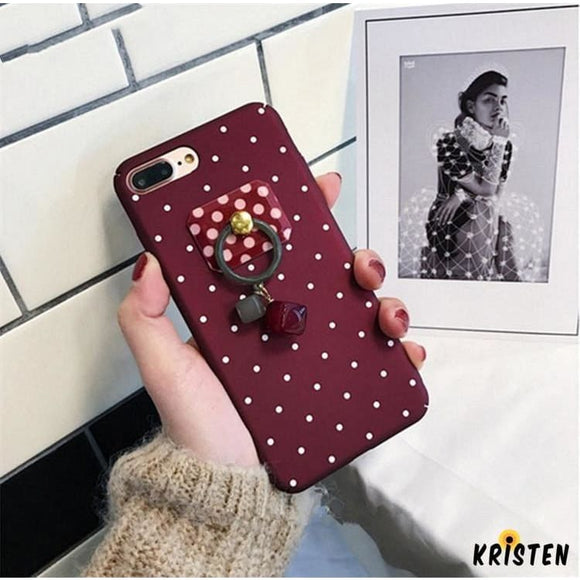 Cute Wine Red Polka Dots Matte Silicone Designer Iphone Case with Jewel Ring Holder Stand for - iPhone