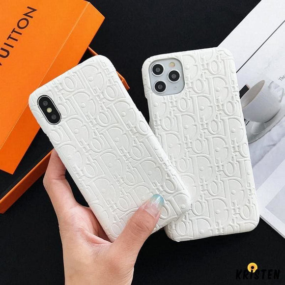 Dior Style Imitation Leather Protective Designer Iphone Case for 12 Pro Max Mini