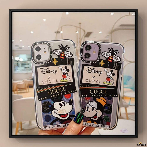 Disney X Gucci Style Clear Bumper Shockproof Protective Designer Iphone Case for 12 Pro Max Mini