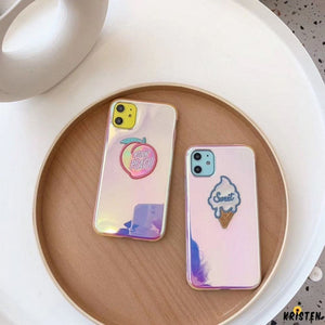 Electroplating Ice Cream Peach Laser Silicone Shockproof Protective Designer Iphone Case for - iPhone