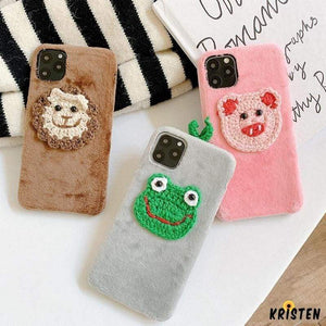 Embroidery Frog Piggy Suede Silicone Shockproof Protective Designer Iphone Case for Iphone 12 Pro Max Mini
