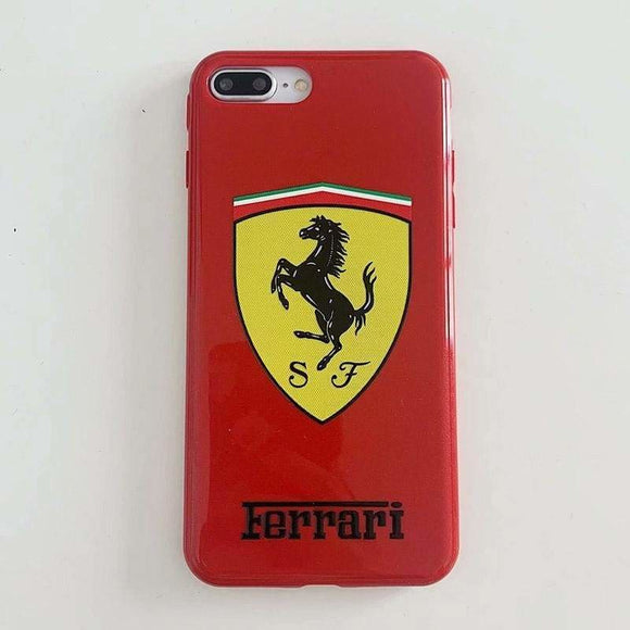 Ferrari Porsche Style Glossy Silicone Designer Iphone Case for X Xs Max Xr 7 8 plus - iPhone XS