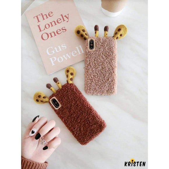 Giraffe Ears Furry Shockproof Protective Designer Iphone Case for Iphone 12 Pro Max Mini
