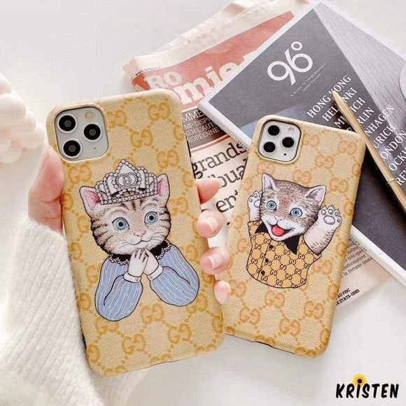 Gucci Style Cat Luxury Leather Protective Designer Iphone Case for Iphone 12 Pro Max Mini