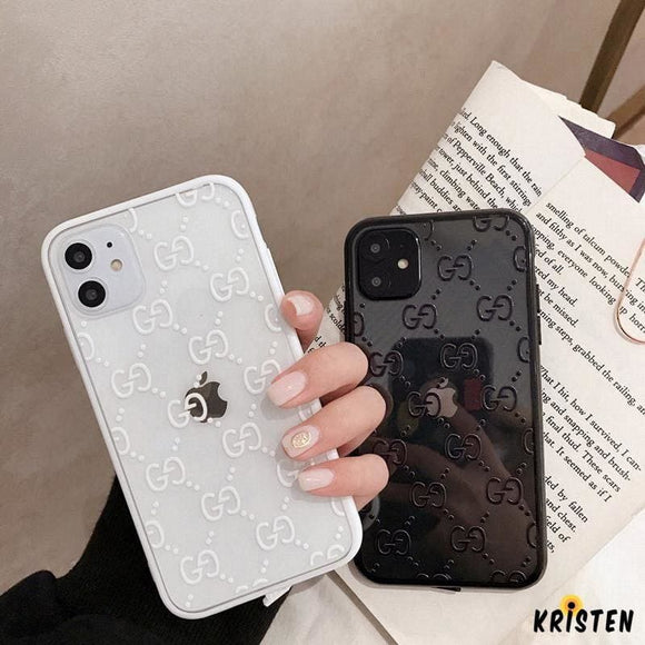 Gucci Style Classic Logo Tempered Glass Shockproof Protective Designer Iphone Case for Se 11 - iPhone