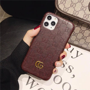 Gucci Style Genuine Leather Protective Designer Iphone Case for 12 Pro Max Mini