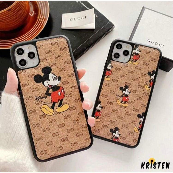 Gucci Style Mickey Mouse Silicone Frame Shockproof Protective Designer Iphone Case for 12 Pro Max Mini