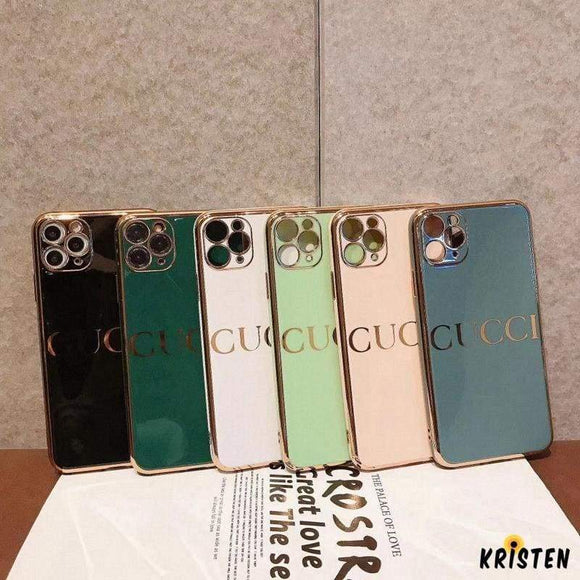 Gucci Style Mirror Metal Frame Protective Designer Iphone Case for Iphone 12 Pro Max Mini