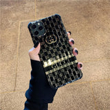 Gucci Style Silica Gel Protective Designer Iphone Case for 12 Pro Max Mini - black / iPhone mini
