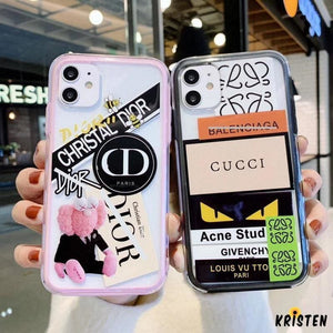 Gucci Style Tempered Glass Shockproof Protective Designer Iphone Case for Se 11 Pro Max X Xs - iPhone
