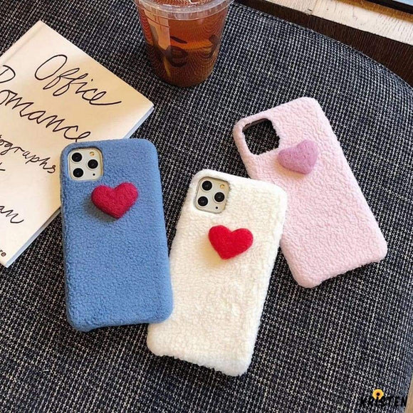 Heart Cute Furry Shockproof Protective Designer Iphone Case for Iphone 12 Pro Max Mini