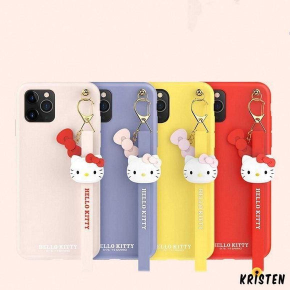 Hello Kitty Style Keychain Shockproof Protective Designer Iphone Case for Iphone 12 Pro Max Mini