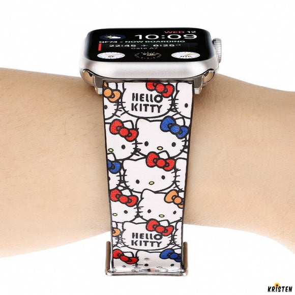 Hello Kitty Style Leather Compatible with Apple Watch Iwatch 38mm 40mm 42mm 44mm Band Strap for - Bands