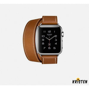 Hermes Style Classic Leather Double Loop Compatible with Apple Watch 38mm 40mm 42mm 44mm Band Strap - Bands