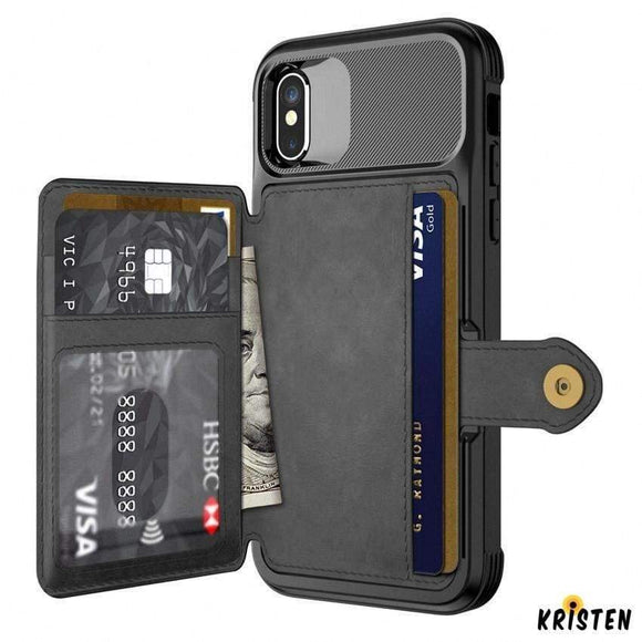 Hybrid Card Holder and Wallet Leather Bumper Case for for Iphone 12 Pro Max Mini