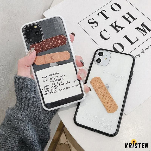 Louis Vuitton Style Bandaid Clear Silicone Shockproof Protective Designer Iphone Case for Se - iPhone