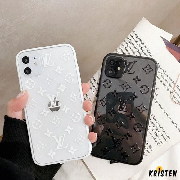 Louis Vuitton Style Classic Tempered Glass Shockproof Protective Designer Iphone Case for Se - iPhone