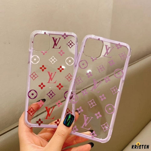 Louis Vuitton Style Clear Tempered Glass Protective Designer Iphone Case for Se 11 Pro Max X - iPhone