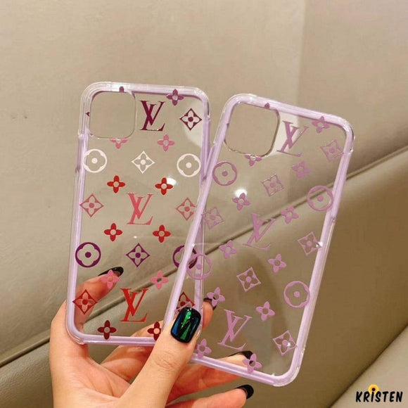 Louis Vuitton Style Clear Tempered Glass Protective Designer Iphone Case for Iphone 12 Pro Max Mini