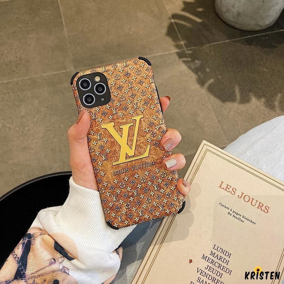Louis Vuitton Style Corner Protection Leather Shockproof Protective Designer Iphone Case for - iPhone