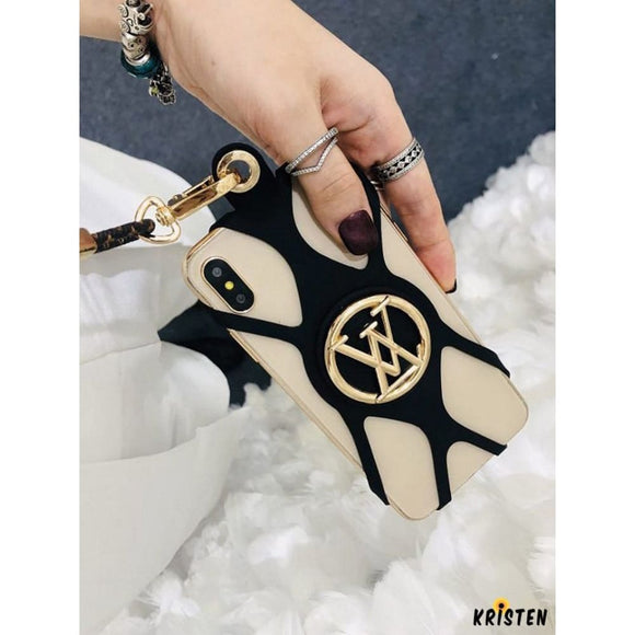 Louis Vuitton Style Louise Phone Holder Strap Monogram Shockproof Protective Designer Iphone Case - iPhone