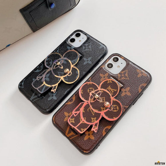Louis Vuitton Style Luxury Leather Hand Strap Shockproof Protective Designer Iphone Case for - iPhone