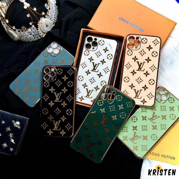 Louis Vuitton Style Metal Frame Shockproof Protective Designer Iphone Case for Se 11 Pro Max - iPhone