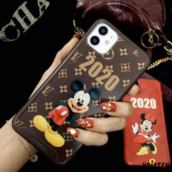 Louis Vuitton Style Mickey Mouse Leather Shockproof Protective Designer Iphone Case for 12 Pro Max Mini