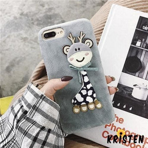 Lovely 3d Giraffe Toy Plush Soft Silicone Tpu Fur Designer