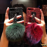 Luxury 3d Diamond Gems Bracelet Glitter Silicone Designer Iphone Case with Fur Ball for X Xs - iPhone