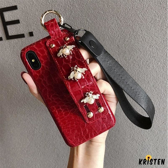 Luxury 3d Gc Style Pearl Bee Leather Designer Iphone Case with Wristband Strap Lanyard for Se - iPhone